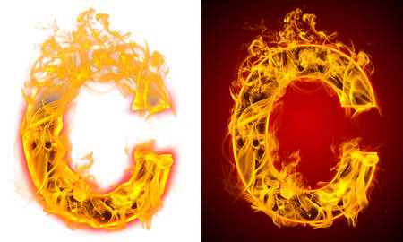 letter C on fire