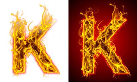 Letter K on fire