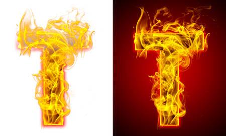 Letter T on fire Banque d'images