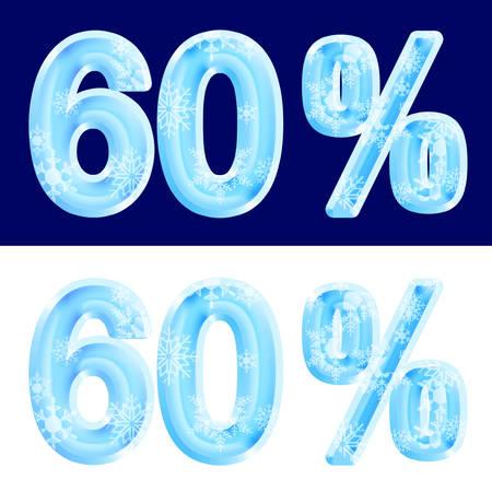 60%, sixty percent, design ice. Reklamní fotografie