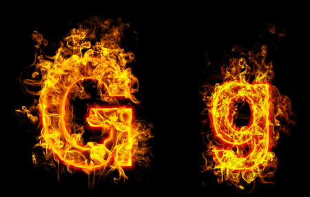 """Fire burning letter """"G? and ?g"""""""