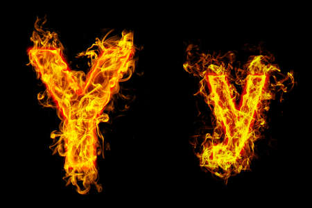 """Fire burning letter """"Y? and ?y"""""""