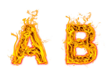 """Fire burning letter """"A? and ?B"""" on white background"""
