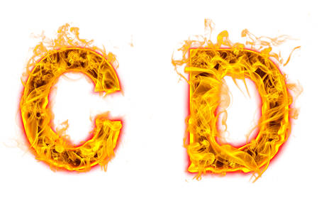 """Fire burning letter """"C? and ?D"""" on white background"""