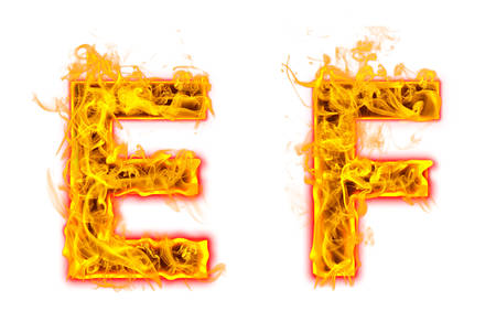 """Fire burning letter """"E? and ?F"""" on white background"""