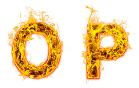 """Fire burning letter """"O? and ?P"""" on white background Banco de Imagens"""
