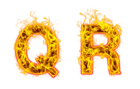 """Fire burning letter """"Q? and ?R"""" on white background"""