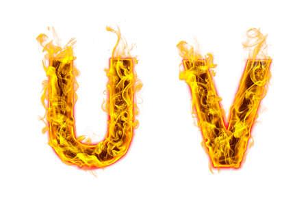 "Fire burning letter ""U? and ?V"" on white background"