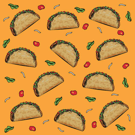 Traditional taco meal vector seamless pattern.