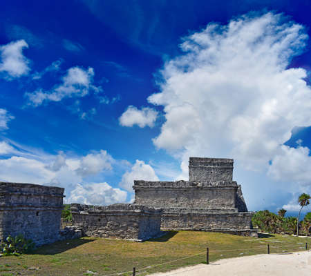 Ruins of Tulum, the Caribbean Sea in the Riviera Maya. Quintana Roo Mexico