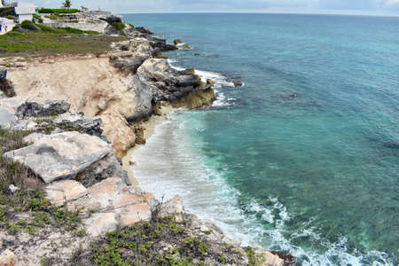 Stones in the paradise Isla Mujeres beach Punta Sur in the Caribe Mexican.
