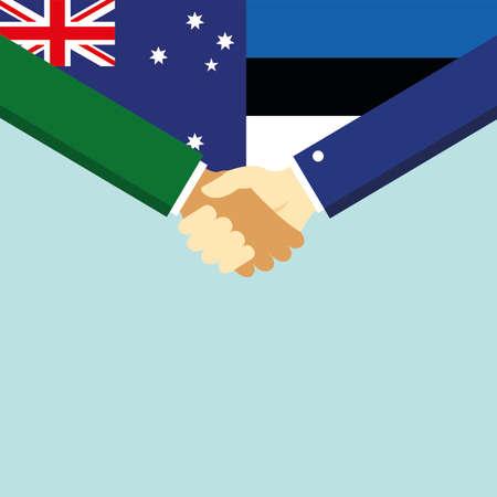 Handshake and two flags Australia and Estonia.