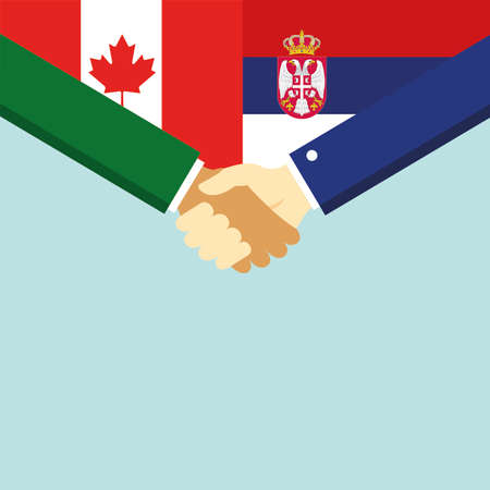 The handshake and two flags Canada and Serbia.