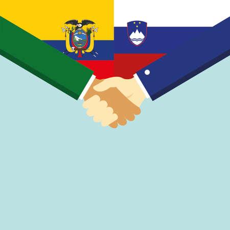 The handshake and two flags Ecuador and Slovenia.
