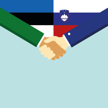 The handshake and two flags Estonia and Slovenia.