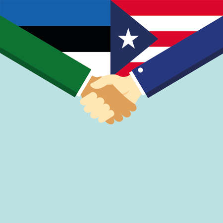 The handshake and two flags Estonia and Puerto Rico.