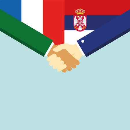 The handshake and two flags France and Serbia.