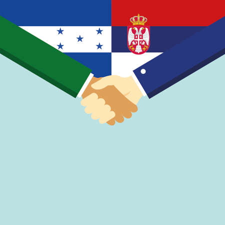 The handshake and two flags Honduras and Serbia.