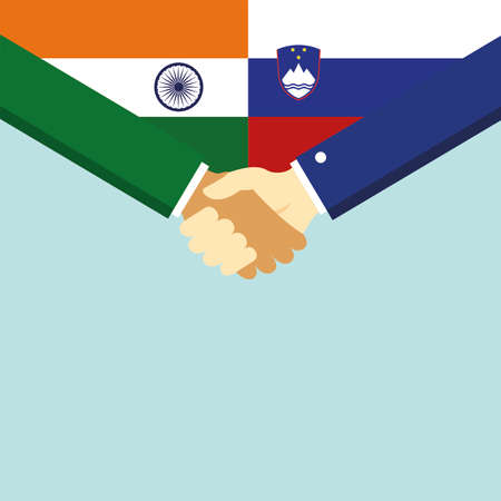 The handshake and two flags India and Slovenia.