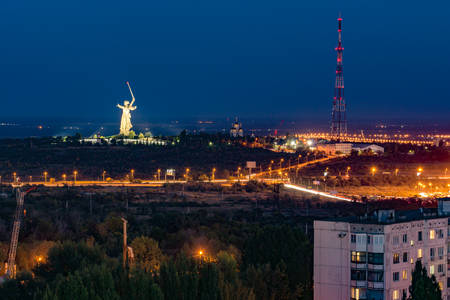 volgograd: Evening in the city of Volgograd. The hero city. Stock Photo