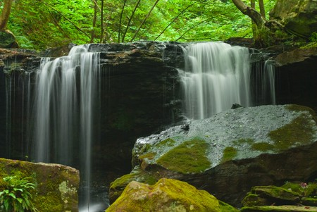 Larger waterfall along Roaring run in Apollo, PA, using slow exposure to capture the softness of the water. photo