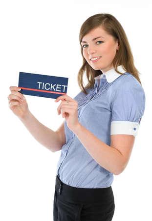 Beautiful girl stewardess presenting a ticket