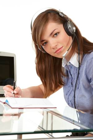 Woman in office with headset photo