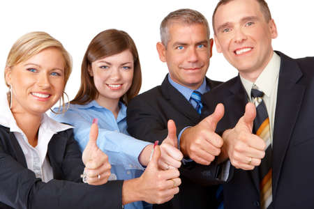Sucessfull business group with thumbs up photo