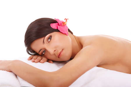 Attractive young woman relaxing in spa, beauty, wellness salon or in bed Stock Photo - 4751543