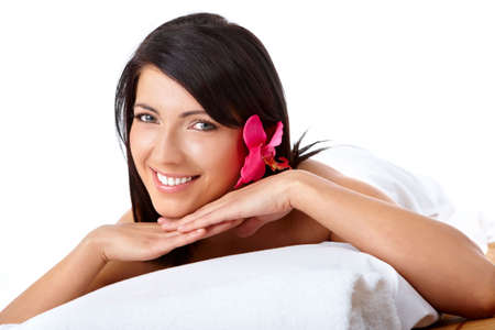 Attractive young woman relaxing in spa, beauty, wellness salon Stock Photo - 4809807