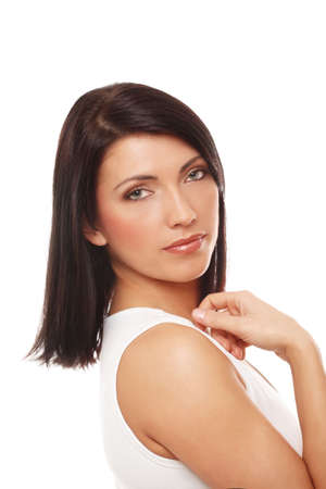 Portrait of Attractive Woman Over White Backgroun Stock Photo - 4809798