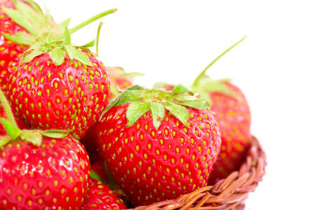 srawberries: Fresh srawberries in basket isolated on white