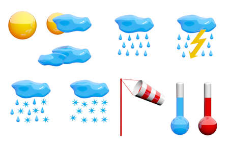 Weather icons set. Miscellaneous images from sunny to rainy and snowy also thermometers showing cold and warm tempetature, red and white windsock photo