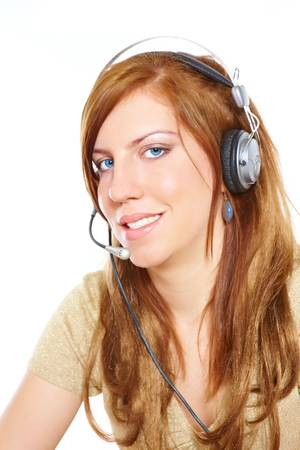 Young happy beautiful customer service operator woman in headset, smiling, isolated on white background. photo