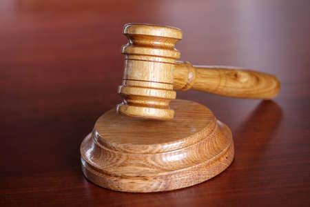 Judges wooden gavel isolated over white backround photo