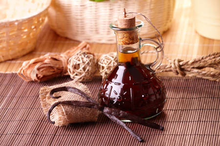 extract: Vanilla extract with beans with nice decoration Stock Photo