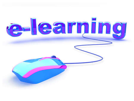 E learning word with beautiful modern computer mouse. Concept of distance learning. photo