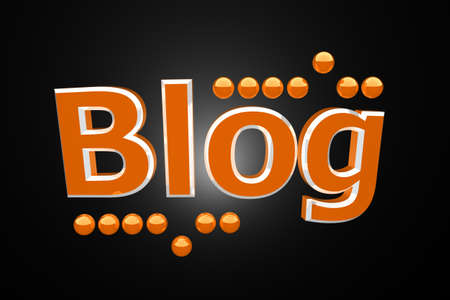 Blog orange reflective word and little balls on black background Stock Photo - 8987830