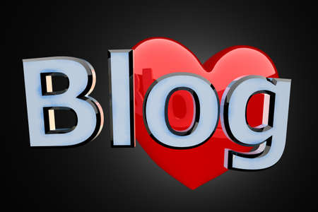 Blog blue reflective word and huge red heart on black background photo