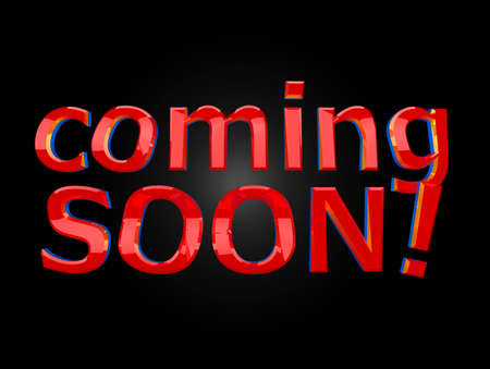 Comming soon reflective red text over black background Stock Photo - 8987832