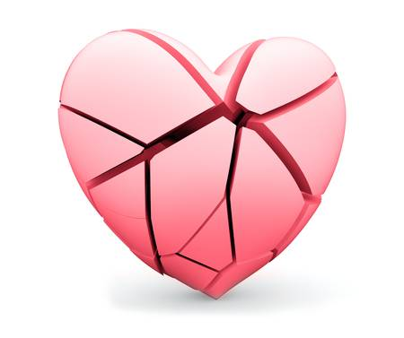 Broken heart. Concept of fall in love or opposite as depression, loss or medical heart attack photo