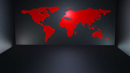 Modern red world map as a kind of wallpaper in a dark modern room Stock Photo - 8987826