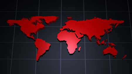 meridian: Modern red world map over tiled meridian background  Stock Photo