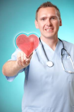 holograph: Medicine doctor with futuristic holographic heart interface