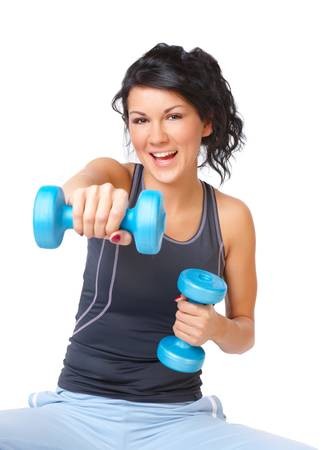 strengthen: Young woman doing exercise with dumb bell, strengthen her arms and shoulders , isolated on white background