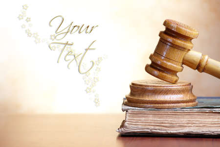 prosecution: Old book and gavel with blank copy space for your text