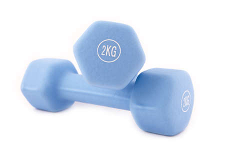 Blue dumbbells isolated on white   photo