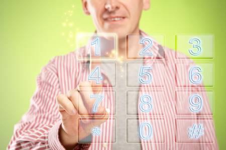 teclado numerico: El hombre con teclado numérico, diseño fresco futurista Foto de archivo