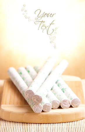 moxibustion: Professional moxa sticks with copy space for your text Stock Photo