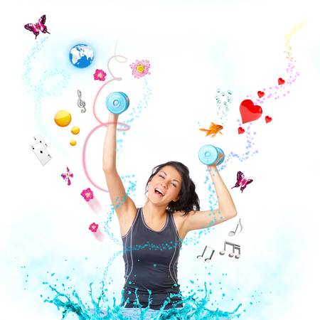 Young woman with dumbbells very happy with objects like butterflies, gold fish and other photo
